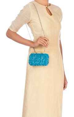 Blue clutch with long silver chain