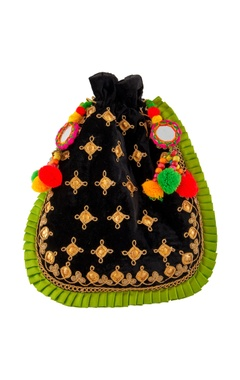 Black velvet potli with pompoms
