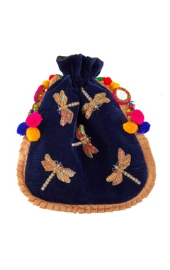 Blue potli with pompom and mirror accents