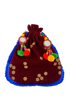 Burgundy potli with pompoms