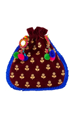 Burgundy potli with colorful pompoms