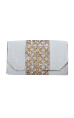 White clutch with floral embellishments