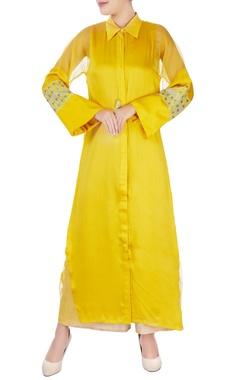 yellow thread embroidered kurta & pants