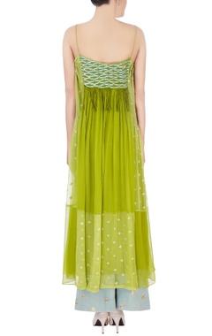 green & blue thread embroidery kurta set