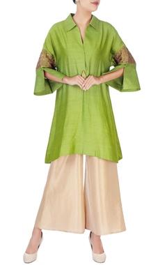 green thread embroidered kurta