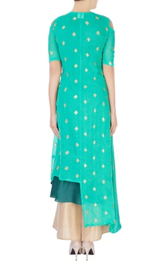 green double layered kurta