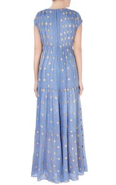 blue layered maxi dress