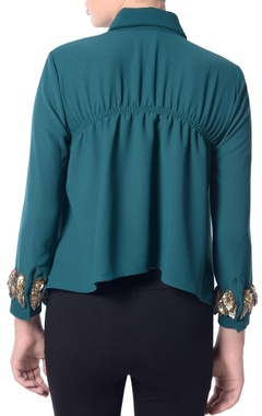 green cape style blouse