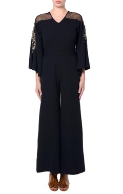 black flared sleeves jumpsuit
