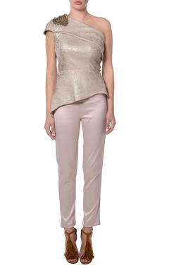 Metallic beige shimmer blouse and pants