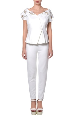 White jacket blouse & pants