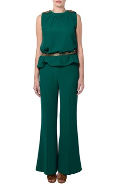 Green embellished top & mini flare pants