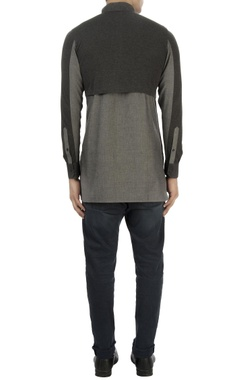 Grey color block shirt