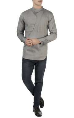 Vaibhav Singh Grey high collar shirt