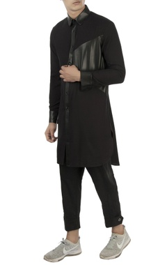 Vaibhav Singh Black kurta with leather panels
