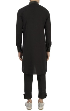 black kurta with leather panels