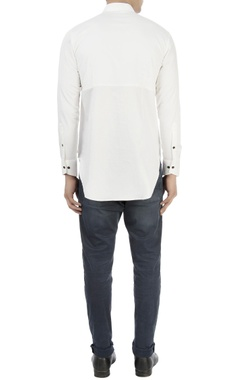 White textured shirt with high collar