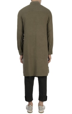 Khaki green cotton kurta