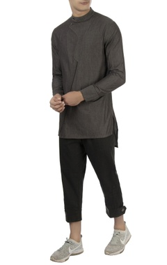 Vaibhav Singh Charcoal grey high collar shirt