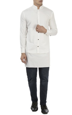 Vaibhav Singh White high collar cotton shirt