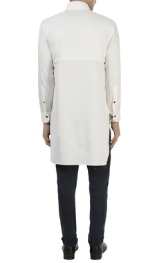 White high collar cotton shirt