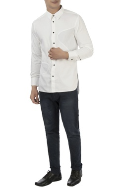 white shirt with pleated patches