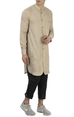 Vaibhav Singh Beige long cotton kurta