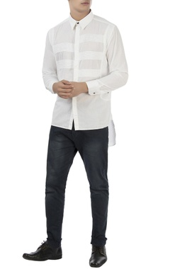 white shirt with pleated panels