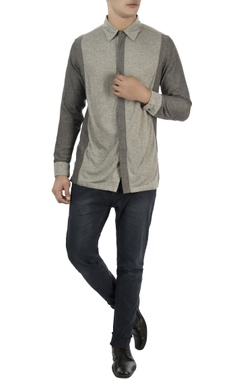 Vaibhav Singh Grey color block cotton shirt