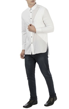 Vaibhav Singh White shirt with pleated panel