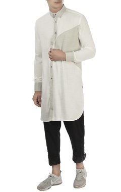 Vaibhav Singh White & grey cotton shirt