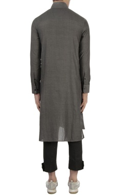 Grey kurta with pleated panel
