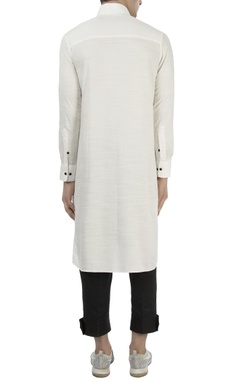 white kurta with mandarin collar