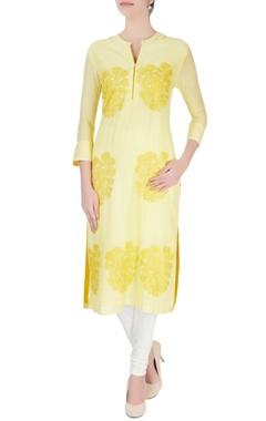 Yellow floral print kurta