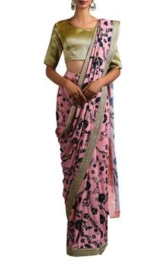 pink floral sari & brocade blouse