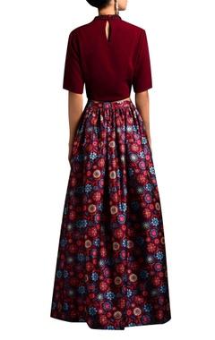 oxblood crop top & floral skirt