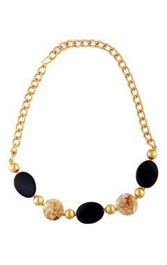 black & gold stud statement necklace