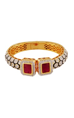 multicolored faux ruby stonework bangle