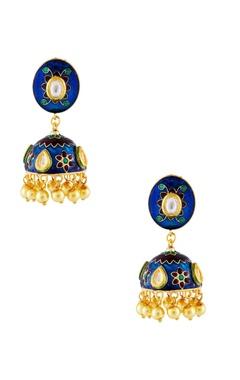 blue & gold meena kundan earrings