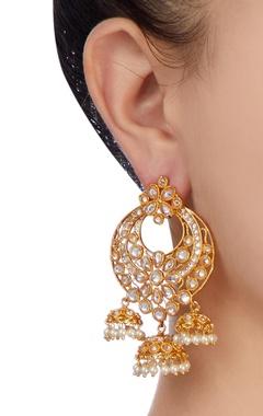 white & gold jhumka earrings