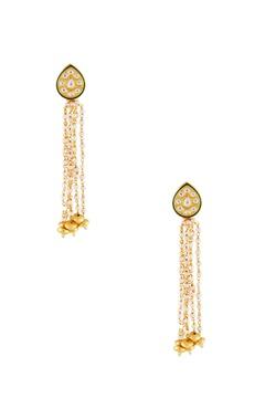 white & gold pearl jhallar earrings