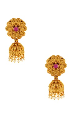 Gold plated jhumka peal earrings