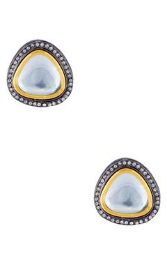 gold plated kundan stud earrings
