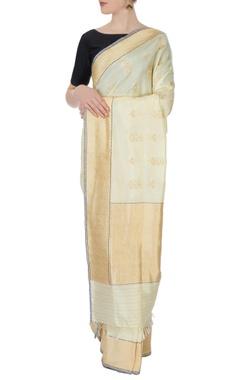 white banarasi silk sari in zari work with blouse piece