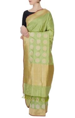 light green banarasi silk sari & blouse piece