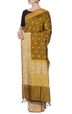 olive green banarasi silk sari with blouse piece