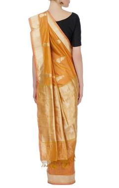 orange banarasi silk sari with blouse piece