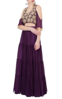 purple lehenga & cold-shoulder blouse