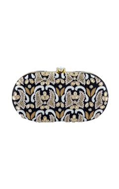 Black thread embroidered clutch