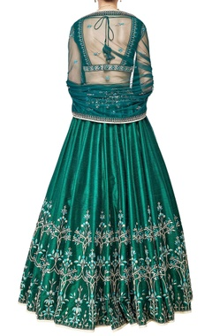 emerald embroidered silk lehenga set